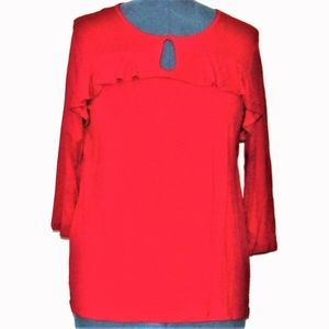 NY Collection Red Jester Top Ruffle Keyhole Large